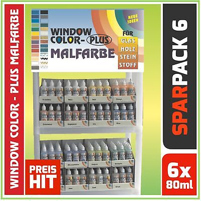 SET Window Color Fenstermalfarbe Standardfarben 6x 80ml