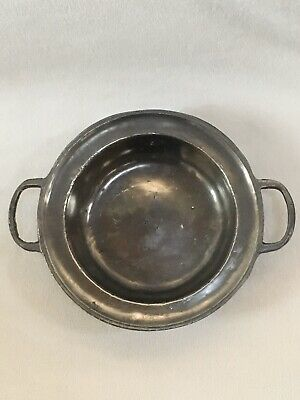 "Vintage Old World Pewter 6 3/4"" Handled Small Serving Bowl 95% Sn"