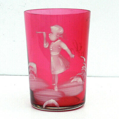 """Antique Victorian Cranberry """"Mary Gregory"""" Glass White Enamel Named Sophie c1890"""
