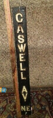 "Rare Cast Iron Vertical Street Sign Marker Caswell Avenue Northeast @30"" tall"