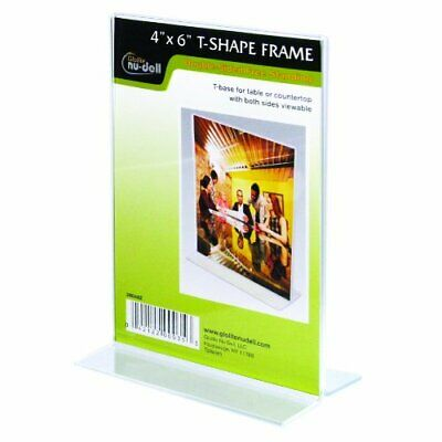 "NuDell 4"" x 6""  Double Sided T-Base Freestanding Sign Display Frame, Clear"