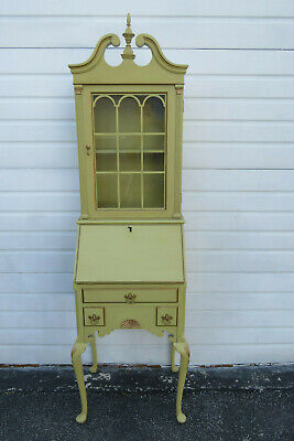 French Tall Narrow Painted Secretary Desk Cabinet Cupboard by Landstorm 1252