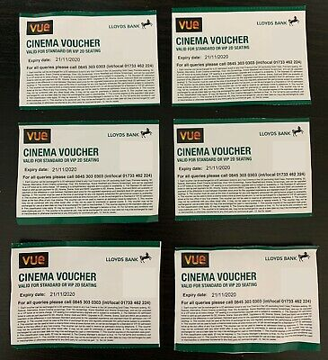 Vue Cinema x6 Standard or VIP Tickets