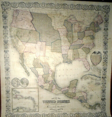 Ensign Thayer MAP OF THE UNITED STATES WITH ITS TERRITORIES 1851 Very Good 35x32