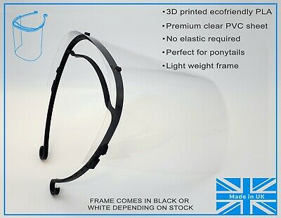 Full Face Visor PPE face shield inc 3 clear PVC sheets - Eco Friendly Frame NHS