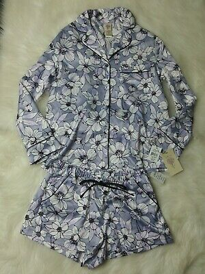 In bloom by jonquil Pajama Floral Gray Purple Short Set Size XS