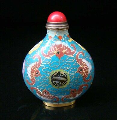 Collectibles 100% Handmade Painting Brass Cloisonne Enamel Snuff Bottles 095