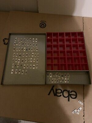 Vintage Small Letter Press Letters And Numbers With Metal Case