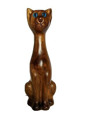 "Cat Sculpture Wood Figurine Glass Eyes Vintage Signed EB 8"" Tall"