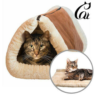 Soft Kennel Puppy Pet Bed 2 in 1 Cave Bed Dog Cat Mat Plush Pad Warm Nest Small