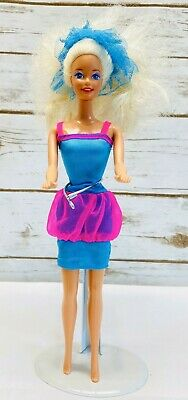"MATTEL BARBIE Doll Blonde Hair Blue Eyes Turquoise Dress 12"" Tall Used Free Ship"