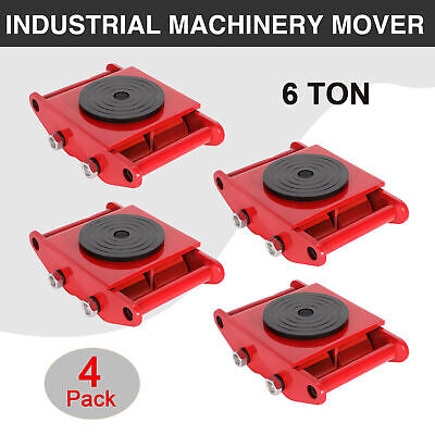 4 PCS 6T Industrial Machinery Mover Dolly Skate Straight Machine Rotation Cap