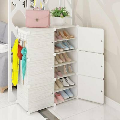 12 Cubes Interlocking DIY Shoe Bookcase Organizer Rack Stand Storage Cabinet