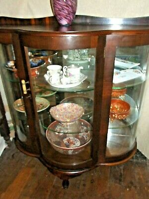 Antique  Art Deco Large Australian Walnut Glass Display Cabinet Vintage 1930's