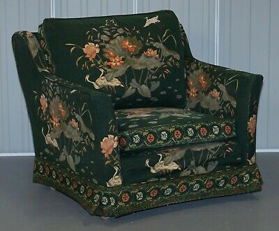 Oriental Floral & Bird Upholstery Vintage Country House Mansion Club Armchair