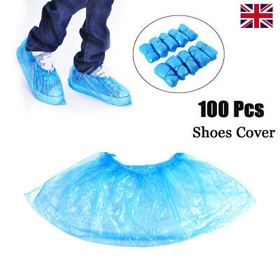 100 Disposable Shoe Covers Plastic In/Outdoors Water Resistant Protector Cover