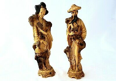 Vintage Artmark Carved Chinese Man And Woman Figurines, Old Asian Resin Japanese