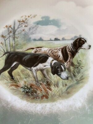 """Antique  German Shorthaired Pointer Made in Germany Hunting dogs 8"""" plate"""