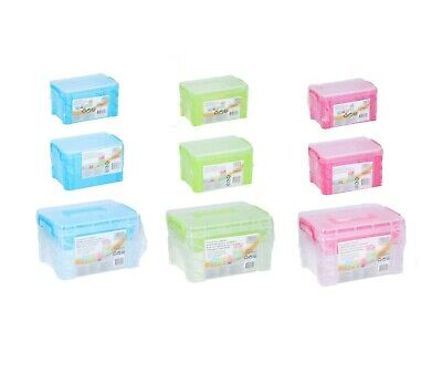 Plastic Storage Box Clear Boxes With Lids Clip Locking Handles Desk Home Office
