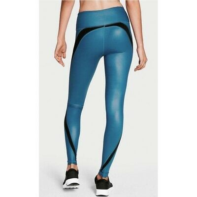 Victorias Secret Sport Knockout Blue Black Workout Leggings Full Length Size S