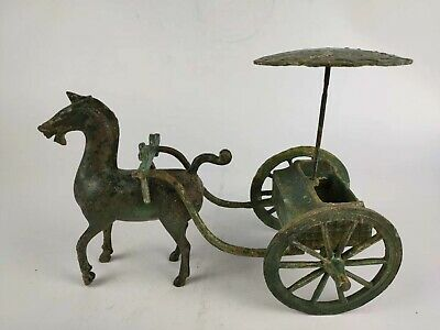 China Warring States Period Tomb Burial Bronze Detachable Horse Cart Shed Statue