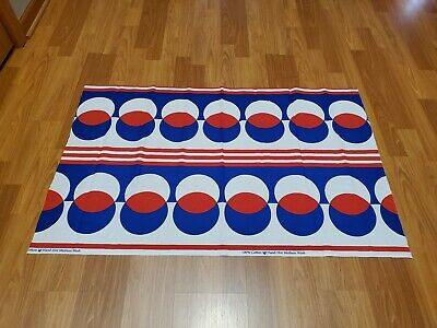 Awesome RARE Vintage Mid Century retro 70s red wht blue op art circles fabric!!
