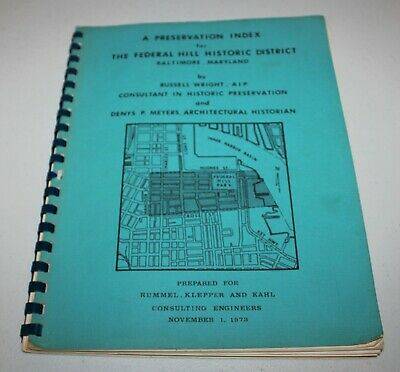 Vtg 1973 BALTIMORE MD Historic Preservation Plan ARCHITECTURE Federal Hill