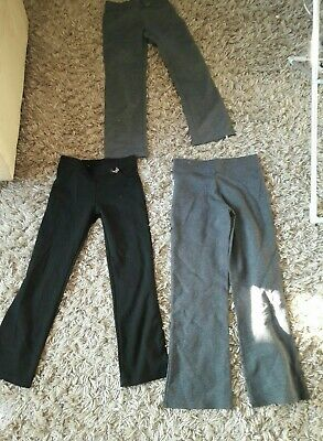 Girls Grey School Trousers Age 8 - 9 Yrs grey and black used 3 pairs