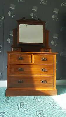 Antique Victorian Dressing Table Chest Bevelled Mirror Locking Drawers