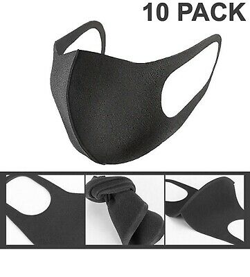 10 PACK/PCS BLACK FACE MASK Breathable,Washable,Reusable (SHIP FROM USA)
