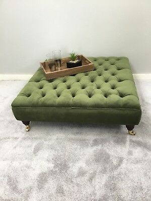 Extra Large Chesterfield Footstool/coffee Table In Plush Velvet Vine Green