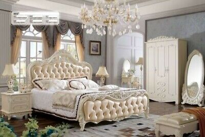 Baroque Rococo Style Beds Hotel Double Leather Bed Antique Classic Chesterfield