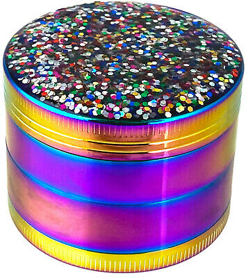 """2"""" 50mm Rainbow Bling Bling Spice Herb Grinder Cylinder 4 Piece Tobacco Mill"""