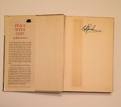 Billy Graham Signed Book Peace With God First Edition Hardcover Dust Jacket 1953