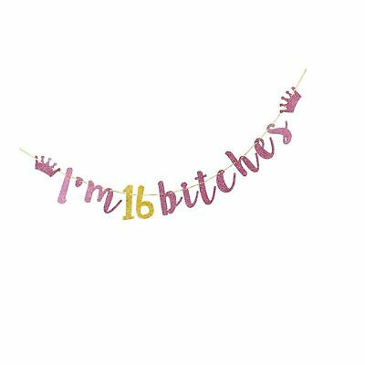 INNORU Sweet 16 Banner 16th Wedding Anniversary Bunting Gold Happy 16th Birthday Party Supplies