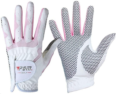 PGM Women's Golf Glove One Pair,Anti-Slipand Breathable Bionic Gloves (Pink, 20)