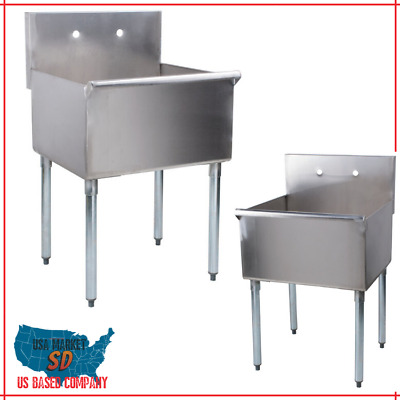 """Regency 24"""" 16-Gauge Stainless Steel One Compartment Commercial Utility Sink - 2"""