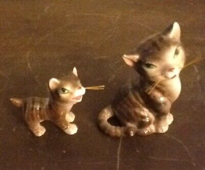 Vintage HTF Matching Porcelain Mother Cat and Kitten with green eyes & Whiskers