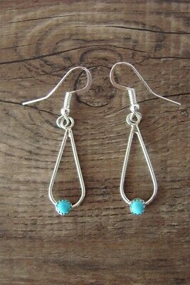 Navajo Indian Sterling Silver Turquoise Dangle Earrings