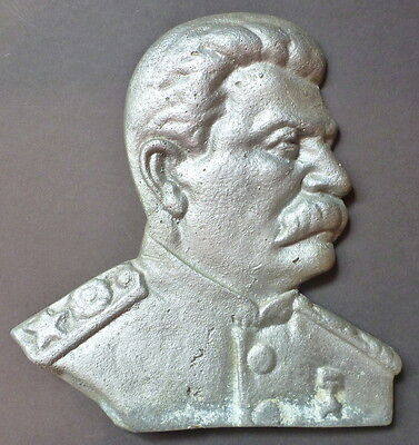 Old Ussr Russian Heavy Cast Metal Bas-Relief Bust Stalin Communist Plaque Plate