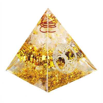 UK Reiki Energy Charged Tourmaline Orgone Pyramid Powerful Energy Generator Gold