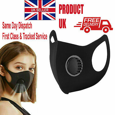 Breathable Mask Washable Face Mouth Masks with Valve Protection Black UK Stock