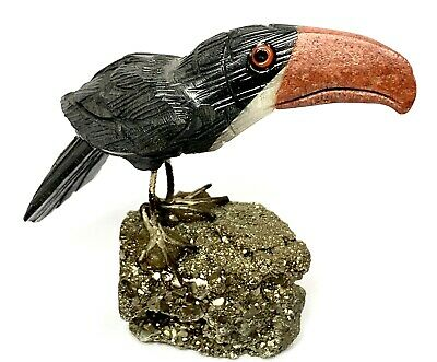 Handmade Carved TOUCAN BIRD Art Sculpture Quartz Stone Pyrite Figurine Figure