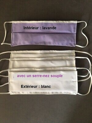 Lot de 3 masques blancs lavables (3 épaisseurs) norme AFNOR
