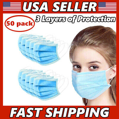50 PCS Face Mask 3-Ply Medical Surgical Dental Disposable Mouth Cover
