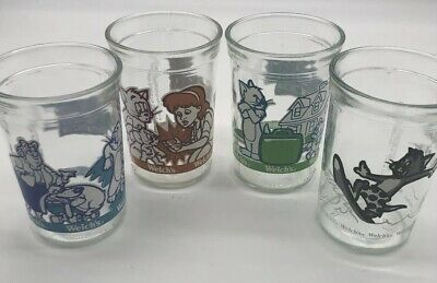 Lot of 4 Vintage Welch's Tom And Jerry Collectible Jelly  Jar Glass