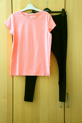 NEXT Girls Neon Pink T-shirt Top & Black Leggings Age 13 Years BNWT