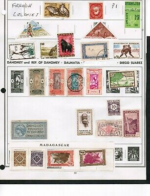 FRENCH  COLONIES COLLECTION  over 50  3 ALBUM P. $15.00+ USED (some MLH) LOT 303