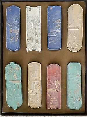 19th Century Old Chinese Antique 8 Ink blocks Set Signed