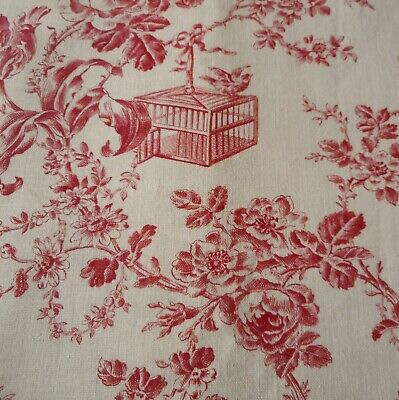 Antique French Floral Roses Birds Bird Cage Toile Cotton Fabric ~ Rich Red Cream